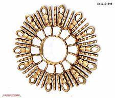 """Gold Leaf Round Sun Mirror 11.8"""", Peruvian Accent sunburst mirror for wall Decor"""