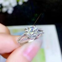 2Ct Round Cut Moissanite Sparkle Solitaire Engagement Ring 14K White Gold Finish