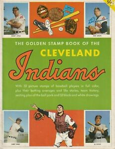 FELLER, WYNN, LEMON,GARCIA, AND SCORE AUTOGRAPHED SIGNED 1955 INDIANS STAMP BOOK