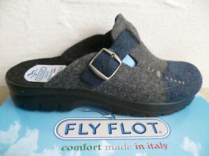 Fly Flot Men's Slippers House Shoes Felt Fabric Blue/Grey New