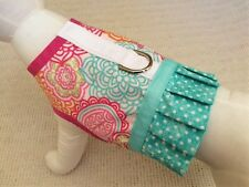 Pink And Teal Flower Dog Harness With Ruffle Skirt