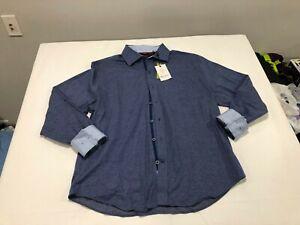 NWT $198.00 Robert Graham Mens Lyells LS Buttondown Navy Blue Dot Size XL