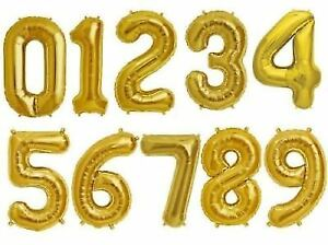"""34"""" Giant Foil Number Gold Helium Large Balloons Birthday Party Wedding"""