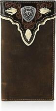 Ariat Mens Distressed Trim Shield Rodeo Western Leather Checkbook Cover Wallet