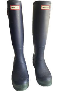Size 6 - Rare Rubber Hunter Boots Blue / Green  EU 37