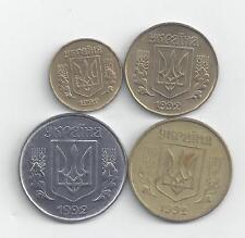 4 COINS from UKRAINE - 5, 10, 25 & 50 KOPIJOK (ALL DATING 1992)