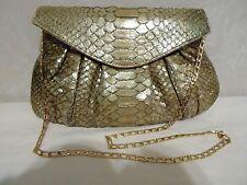 Carlos Falchi Fatto A Mano Snake Python Skin Evening Bag Purse Gold Chain Strap