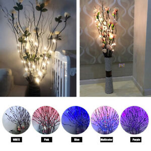 20 LED Branch Twig Lights Light Up Willow Tree Branches Home Decor Battery Power