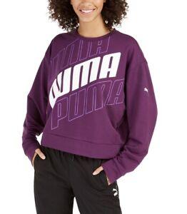 PUMA Women's Logo Crew Neck Sweatshirt Size SMALL Purple White Logo