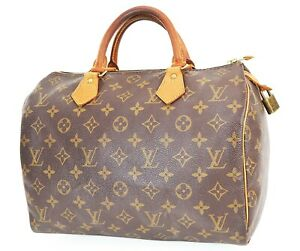 Authentic LOUIS VUITTON Speedy 30 Monogram Boston Handbag Purse #38042