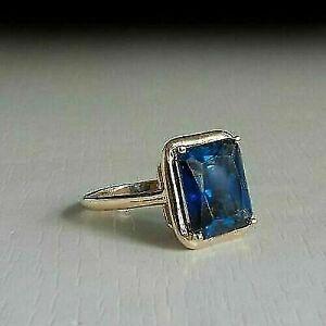 3.00 Ct Emerald Cut Blue Sapphire Women Engagement Ring 10K Yellow Gold Finish