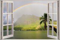 Huge 3D Window view Rainbow Exotic Lake Wall Sticker Film Decal Wallpaper S77