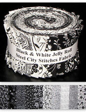 """Black & White Geometric and Florals Jelly Roll Cotton Fabric 20 Strips 2.5""""X44"""""""