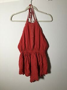 Free People Womens Playsuit Romper Size S Boho Red Halter Neck Rayon Good Condt