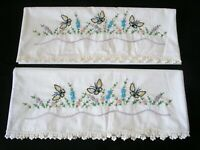 Pair New White Hand Embroidered Crochet PillowCases  Sateen Cotton Standard 2#