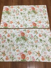 LAURA ASHLEY SHAMS SET OF 2 KING SIZE FLORAL WHITE ORANGE PINK QUILTED COUNTRY