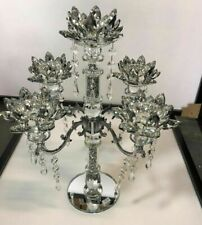 Crushed Diamond 5 Candle Holder Faceted Balls Sparkly Decorative Silver Crystal✅