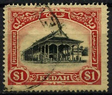 Malaysian State Kedah 1921-32 SG#37 $1 Black & Red/Yellow Used #D46193