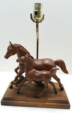Vintage  Rare Breyer Lamp with Woodgrain Mare and Colt Running Horse Models