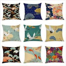 "18"" Japanese Throw Pillow Cover Cranes Japan Wave Floral Decorative Cushion Case"