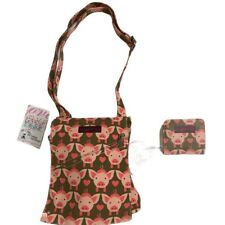 Bungalow 360 Pink Pig Pattern messenger bag And Matching Wallet NWT Brown& Pink