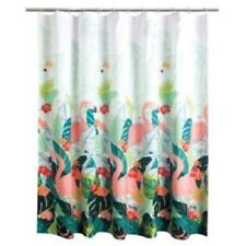 Celebrate Summer Tropical Fabric Shower Curtain Pink Flamingo & Palm Leaves NEW