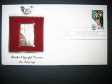 1984 WINTER OLYMPIC ICE DANCING 22kt Gold GOLDEN Cover Replica Stamp