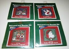 LOT of 4 MILL HILL CHRISTMAS BUTTON and BEADED Counted Cross Stitch KITS 2003