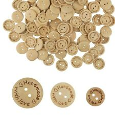 50 WOODEN 'HANDMADE WITH LOVE' BUTTONS  CRAFT SCRAPBOOK SEW CARDMAKING