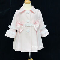 Stunning Wee Me Baby Girl Infant Long Sleeve Jacket Double Satin Bow Frilly Back