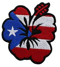 PUERTO RICAN BIKER FLOWER FLAG embroidered PATCH