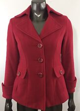 Cabi 619 Women's Size 0 XS Tea Coat Peacoat Red Wool Blend Button Front