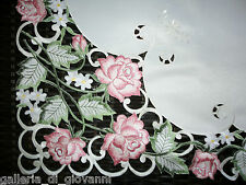"""Garden Rose Lace Doily  43"""" Table Topper Sqaure Flower Pink and Green"""