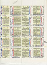 DECLARATION DES DROITS DE L'HOMME ET DU CITOYEN  FEUILLE DE 20 TIMBRES A 2,50