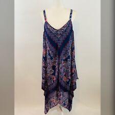 Luxology Dress Blue Red Bandana Print Womens Size 6