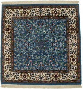Kirman Teal Blue Handmade Square 3X3 Floral Style Oriental Rug Home Decor Carpet