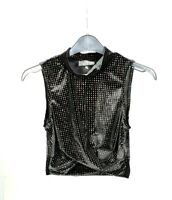 TOPSHOP top Petites Patterned crop top Womens shimmer Vest Top blouse RRP £22