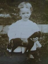 Antique Cabinet Photo-Pretty Little Girl Holding Toy Horse,Fur Mane,Tail,Saddle