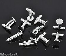 Cufflink Findings Cuff Link Blank Backs 10mm Plate Round Bar With U Arm Type 10 Pairs