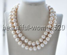 Z9405 Big 15mm Round White Freshwater Pearl Necklace 34inch
