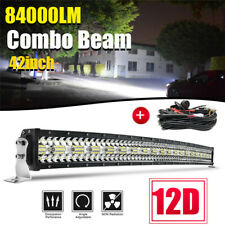 """12D 42"""" inch 2560W Curved LED Light Bar Spot Flood Offroad Driving Truck 4WD RZR"""
