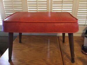 Mid Century Modern Footstool Ottoman Tapered Legs Orange Vintage EC 20 x13 1/2h