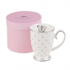 Bombay Duck Miss Darcy Butterfly Boxed Mug White and Silver #VIX702W