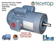 3/4 HP Electric Motor, Farm Duty, 1800RPM,  Single Phase, 56C - C-Face, Round