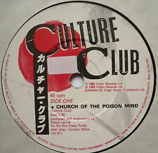 """CULTURE CLUB - Church Of The Poison Mind - Excellent Con 7"""" Single Virgin VS 571"""
