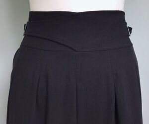 BCBG MAXAZRIA Black Wool Blend Pleated Skirt UK 12 Side Buckle Lined Career Work