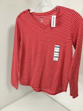 Girls Youth OLD NAVY Striped V-Neck Long Sleeve Shirt White/Red  XL 14