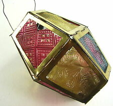 Antique 1880s Christmas Lighting - Thermoplastic Insert Metal Fold Up Lantern #1