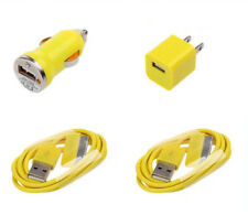 USB Sync Wall Car Charger Cable Yellow for Apple iPod Touch Nano iPhone 4 4S