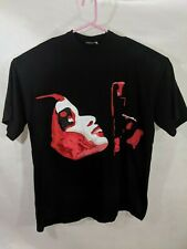 Shirt Black Applique Face Gun Red Pink Art Abstract Graphic Hip 2XL Embellished